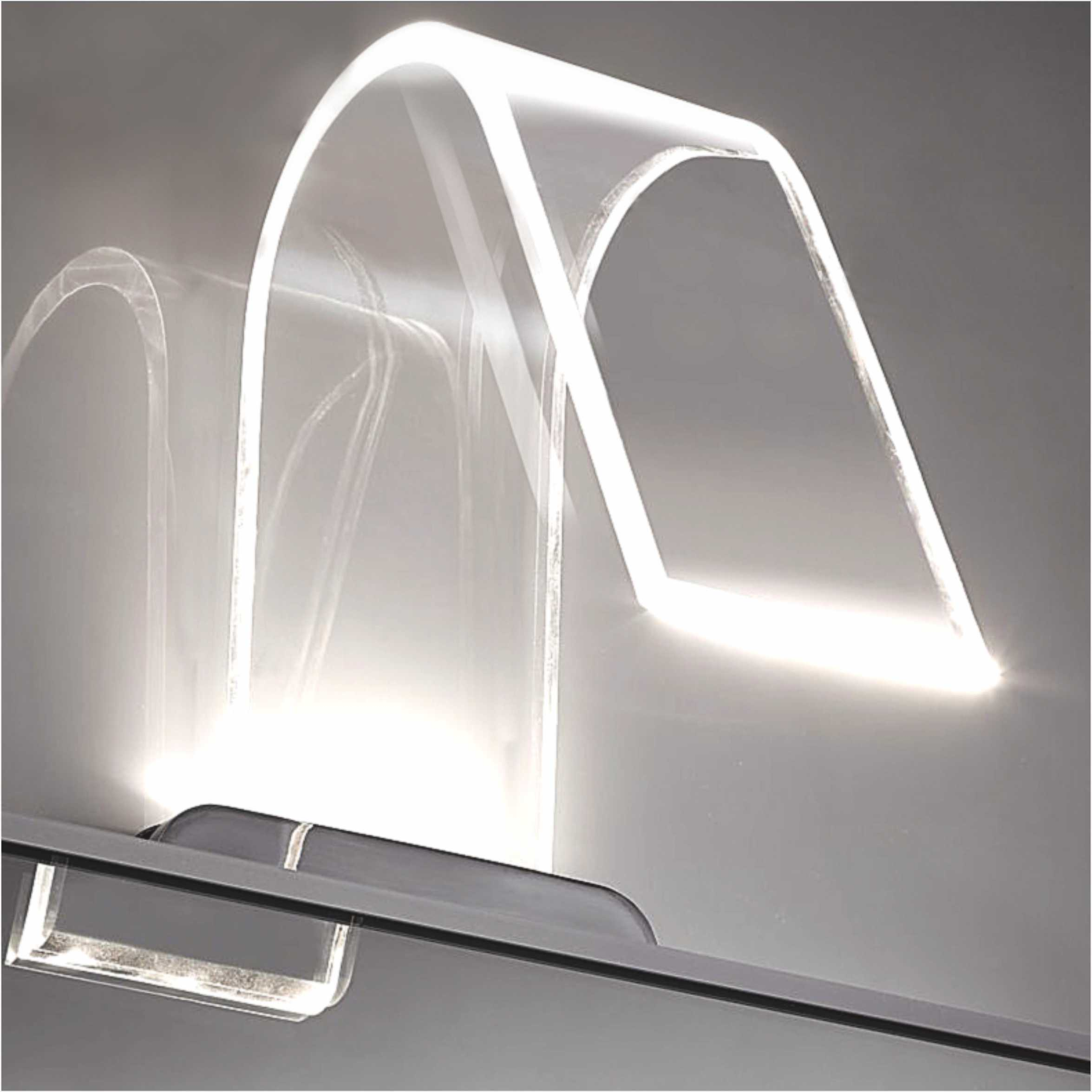IP44 Modern Design LED Bathroom Mirror Light With Curved Acrylic Shade 2988