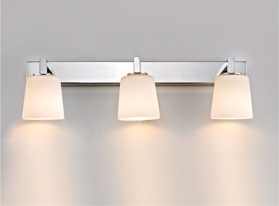 IP44 LED Vanity Wall Light With White Opal Glass Shades 6811/6813/6815