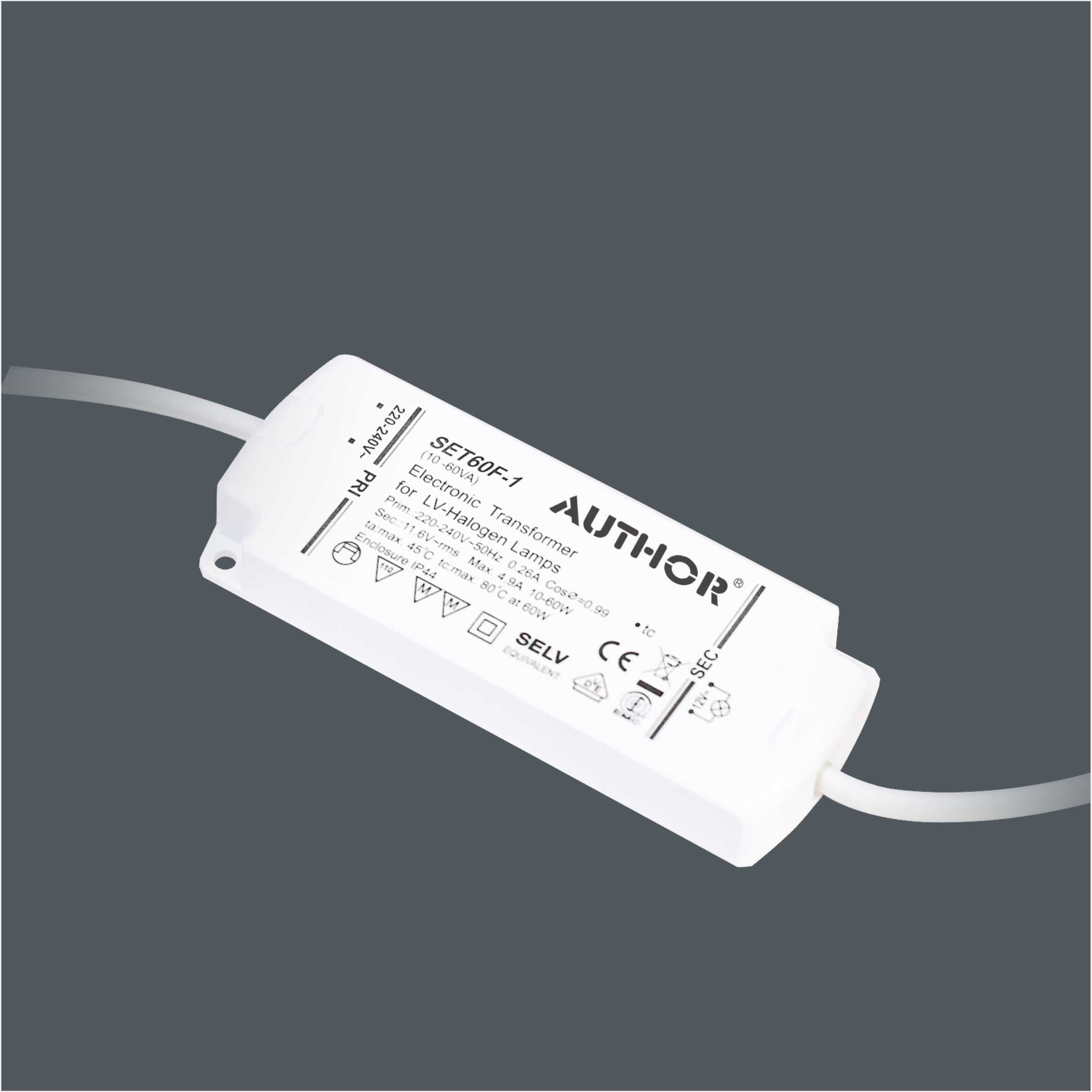IP44 CE Approved 10-60W 12V Electronic Transformer for Halogen Lights Connection 9144