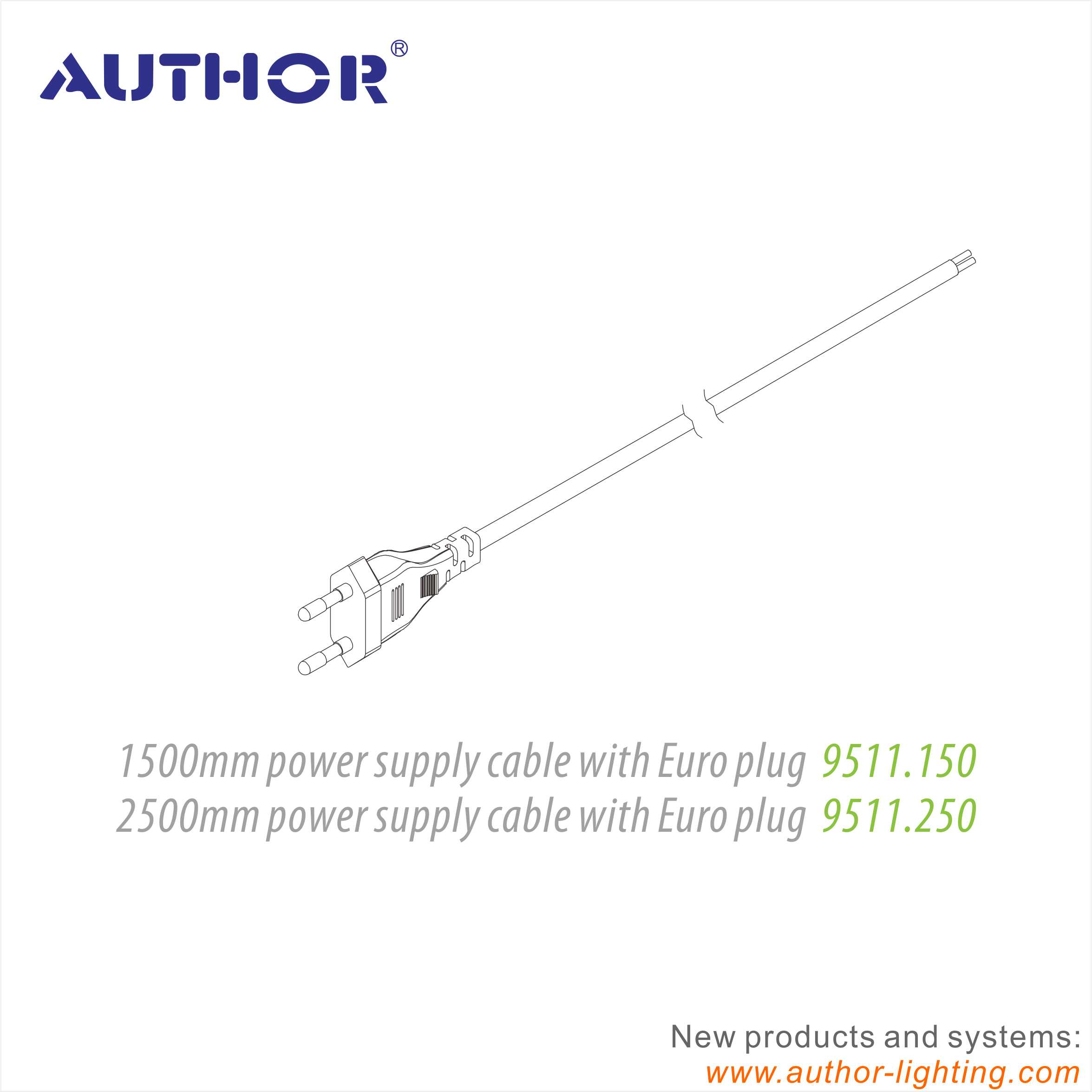 2 Prong EU Plug Power Supply Cable For Lightings 9511