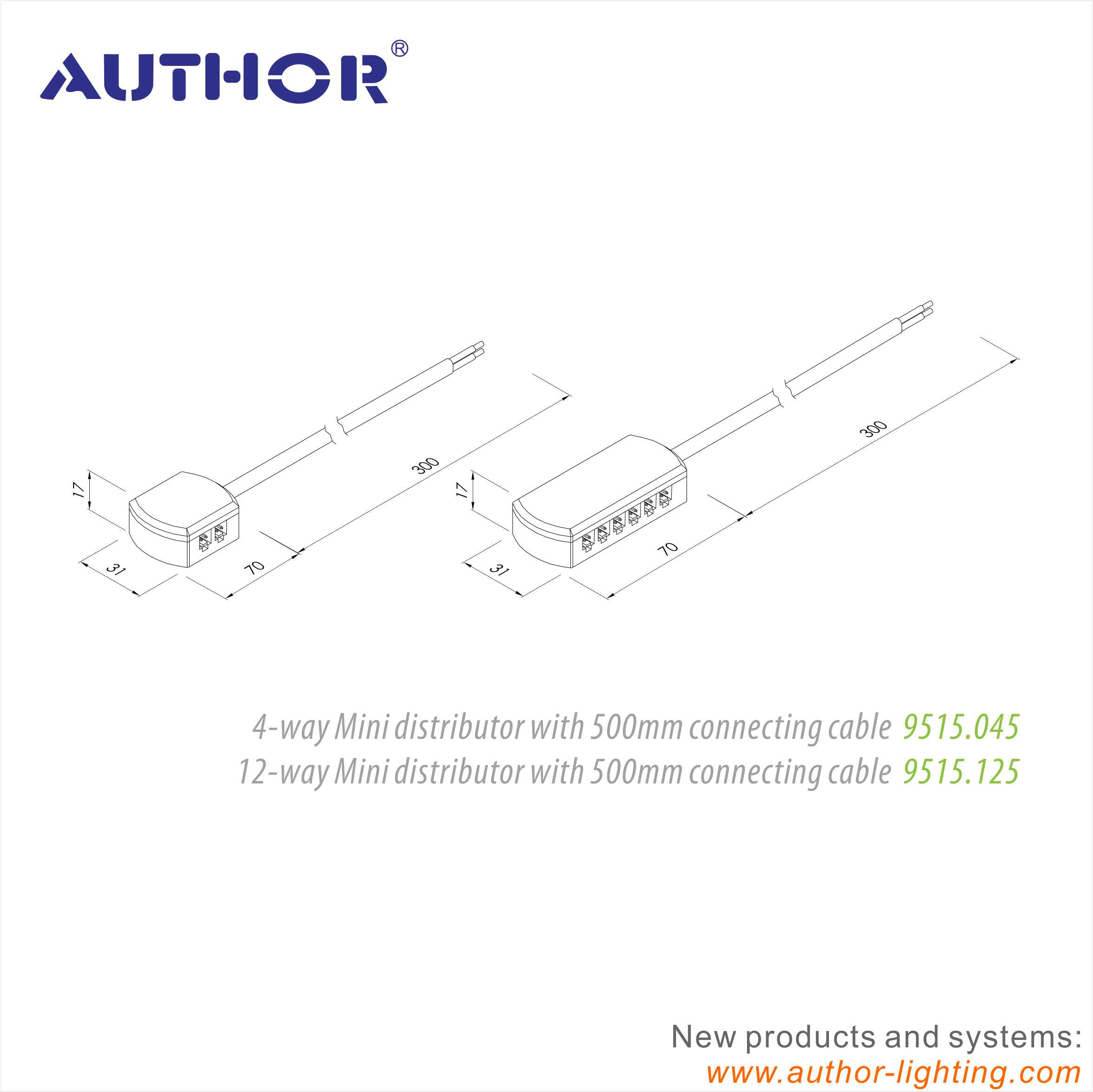 LED Lighting Connector 4-way or 12-way for LED Driver 9515